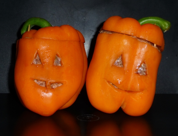 Halloween Pumpkin Stuffed Peppers